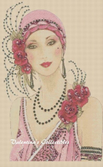 Counted Cross Stitch ART DECO LADY in Pink Dress - COMPLETE KIT #13vc-89 KIT