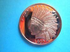 1907 $10 INDIAN 1OZ COPPER ROUND