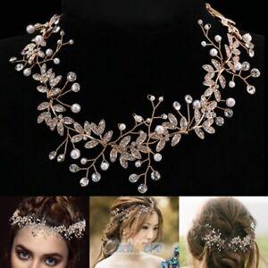 Trendy 60in Pearl Wedding Hair Vine Crystal Bridal Accessories Diamante Headband