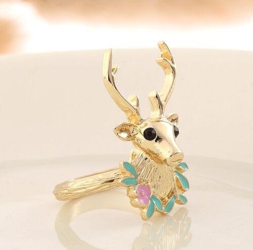 R291 Betsey Johnson 3D Gold Silver Santa Christmas Party Deer Band Ring  US