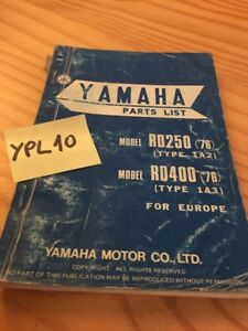 Details about Yamaha Parts List RD250 1A2 RD400 1A3 Rd 250 400 Catalogue  Spare Part 1976