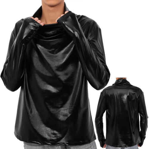 Men/'s Fashion Shiny Metallic Long Sleeve Muscle Pullover Casual Shirts Top Tee