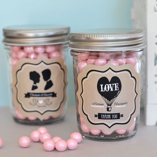 48 Personalized Vintage Wedding Theme Mini Mason Jars Wedding Favor Candy Jars