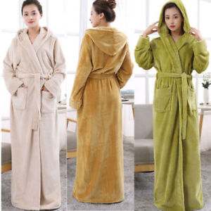 2019 clearance sale temperament shoes 2019 original Details about Towelling Bath LADIES ROBE SOFT COSY LONG HOODED WINTER  FLEECE DRESSING GOWN !
