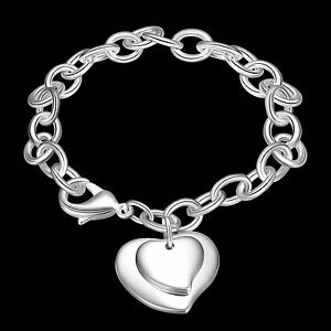 New-WOMEN-GIRLS-925-STERLING-SILVER-Filled-Double-Heart-Bracelet-Heart-Pendant
