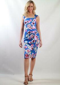 Teaberry-Blue-Pink-Floral-Pencil-Sheath-Dress-Size-8-10-12-14-16