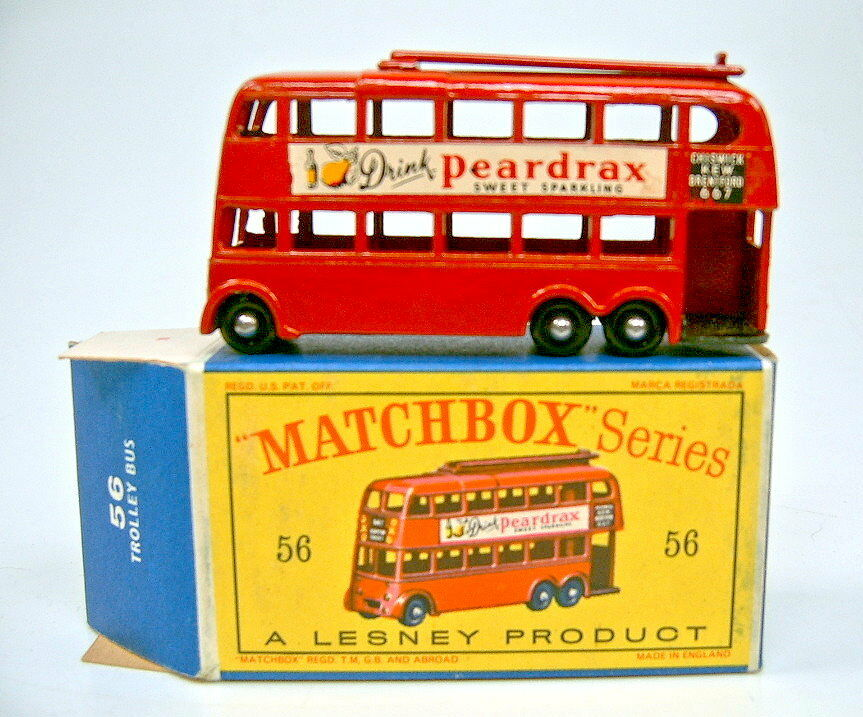 Matchbox RW 56A Trolleybus blacke Räder top in  D  Box