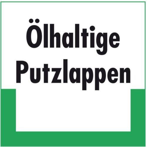 Umweltschild Ölhaltige Putzlappen Folie selbstklebend 200x200mm