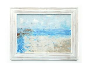 Abstract-Beach-Painting-Ocean-Seascape-Gwithian-Beach-Cornwall-Impasto-Framed