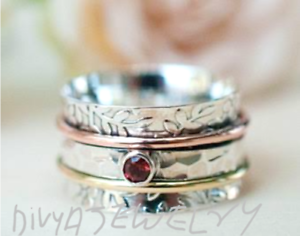 Garnet-Solid-925-Sterling-Silver-Meditation-Ring-statement-Ring-Spinner-Ring-SR1