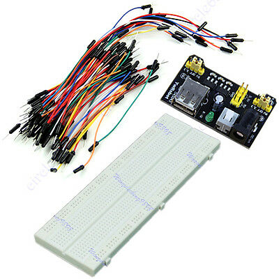 MB-102 830 Point Solderless PCB Breadboard+Jump Cable Wires 65pcs+Power Supply