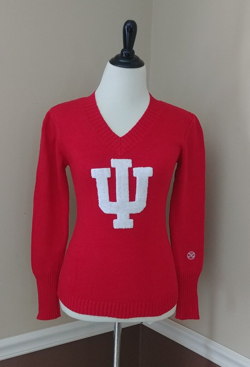 Indiana University Woherren Sweater XS rot V-Neck Hoosiers Retro Alma Mater