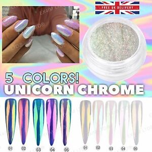 Image Is Loading 5 Color Aurora Nail Powder Ab Unicorn Rainbow