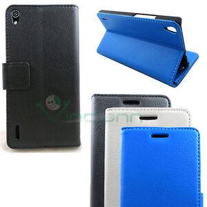 Custodia-pelle-per-Huawei-Ascend-P7-BOOKLET-stand-tasche-cover-nero-azzurro