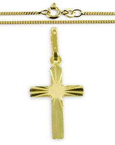 ECHT GOLD *** Kreuz Anhänger glänzend 22 mm