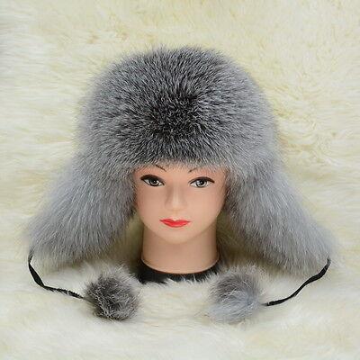 2018 Top Warm Hat New Real Fox Fur Cap Winter Earflap Women Men Russian 51572