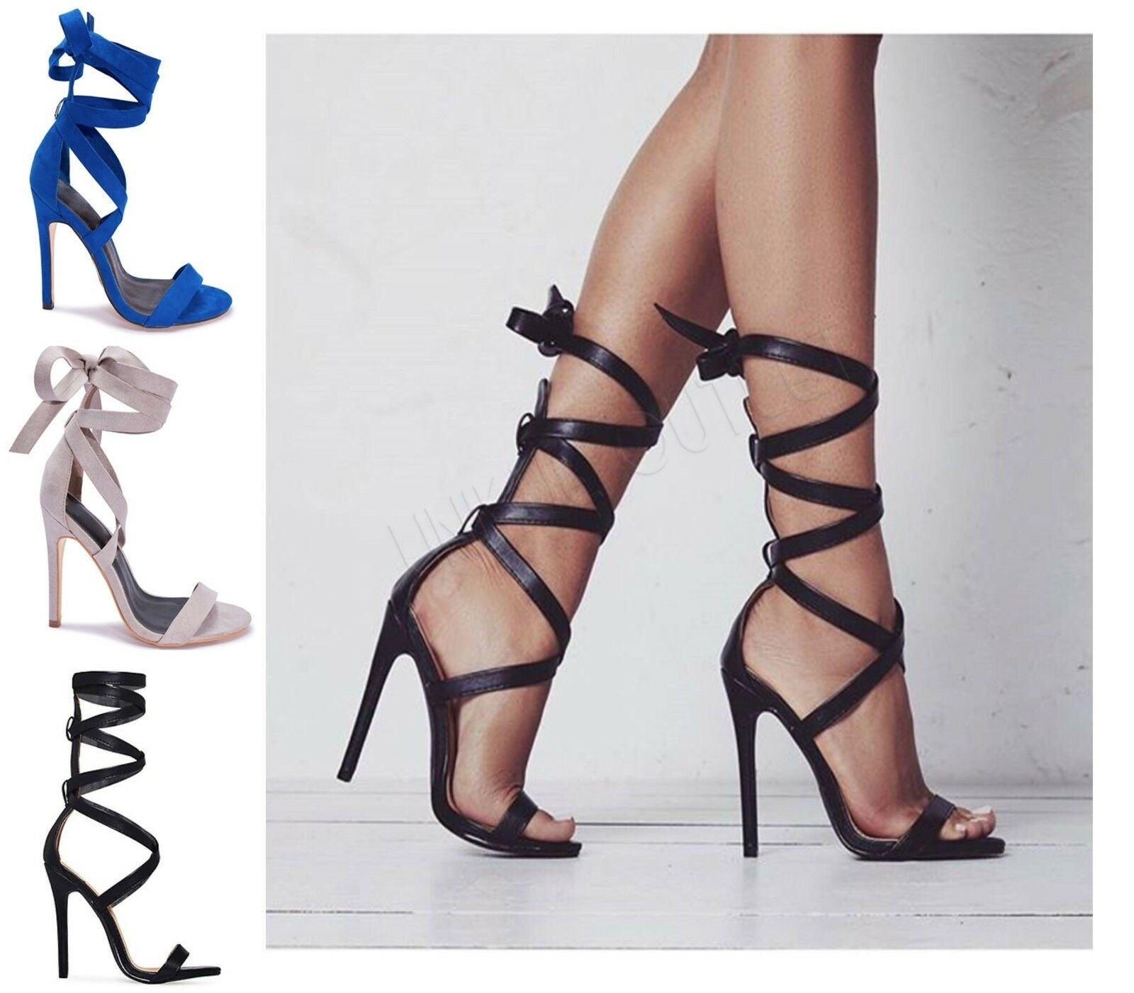 Womens Stiletto Ladies Tie Up Ankle Wrap Around Strappy Stiletto Womens Heel Party Sandals Shoes 1f020d