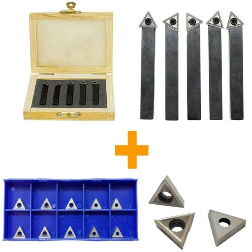 1//4/'/' Indexable Carbide Insert Lathe Turning Tool Bit 10 Pc Tips COMBO 5 PC