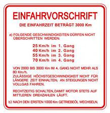 Einfahrvorschrift Aufkleber nur hier, deutsche Vespa 4-Gang Modelle