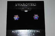 SWAROVSKI AURORA BOREALIS STUD AB CRYSTAL EARRINGS JEWELRY MADE IN USA silver