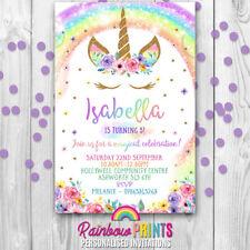 unicorn rainbow personalised party invites birthday invitations x10
