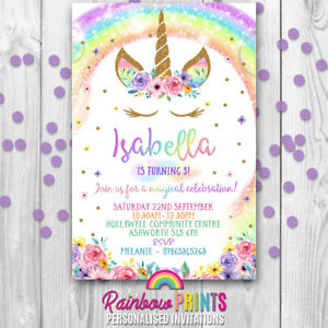 unicorn personalised birthday party invitations invites rainbow gold
