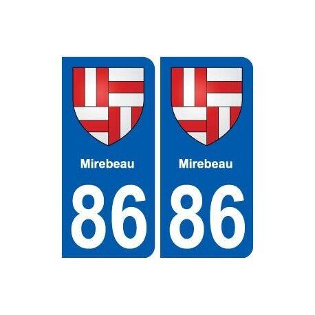 86 Mirebeau blason autocollant plaque stickers ville arrondis
