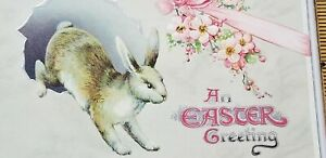Antique-EASTER-GREETINGS-Postcard-CUTE-BUNNY-RABBIT-Silver-Gilding-Embossed