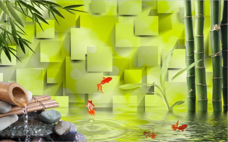 3D Natural bamboo fish Grün Wall Paper Print Decal Wall Deco Indoor wall Mural