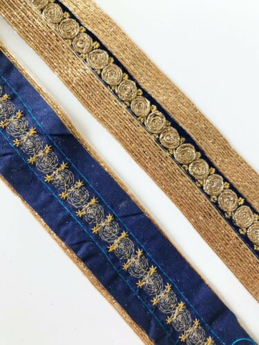 1 Yards Latest Indian  Shimmery double layer Zari Copur middle  Lace Border Trim