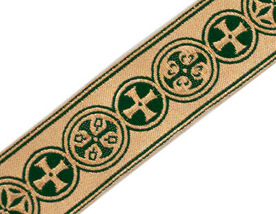 """Medieval Crosses  in Circle Church Vestment Trim 1.5/"""" Wide Red on Gold 5 Yds"""