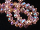 50pcs 10x7mm Rondelle Faceted Loose Spacer Crystal Glass Beads Aqua Red AB