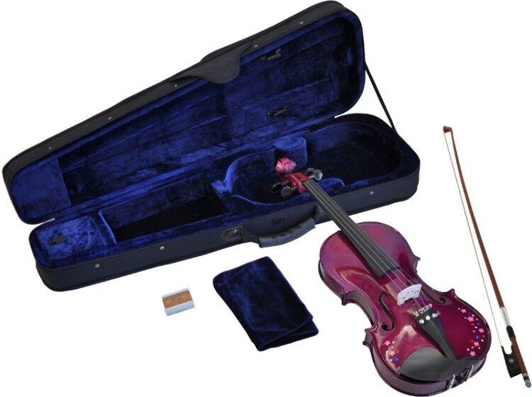Geige Violine Kindergeige Schülergeige 3/4 Anfängergeige 10-11 J. Lila Blumen