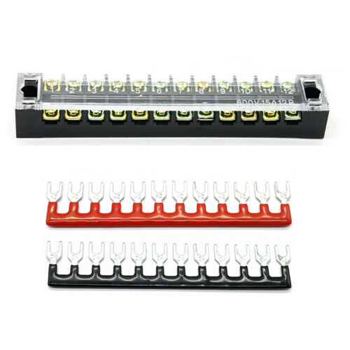 600V 15A Dual Row 12Position Screw Terminal Electric Barrier Strip Block Part