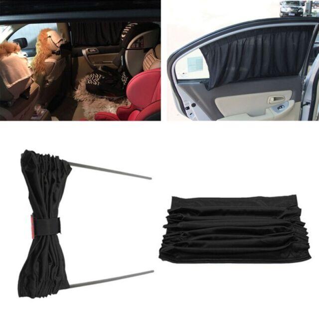 2x Black Adjustable VIP Car Window Windscreen Mesh Style Curtain Sun Shade Visor