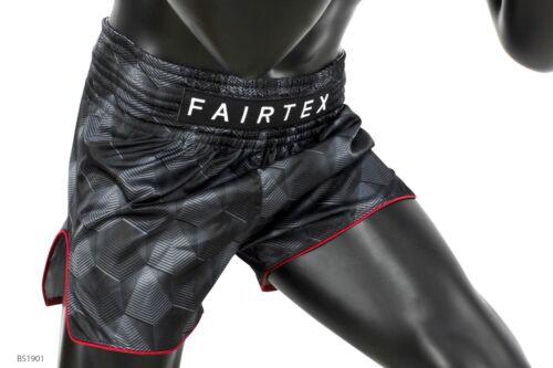 Fairtex BS1901 Stealth Black Better Satin Shorts Boxing Muay Thai Slim Cut MMA
