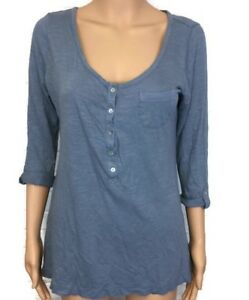 Soft-Surroundings-Blue-Henley-Tunic-Scoop-Neck-Top-Womens-Size-Small-S