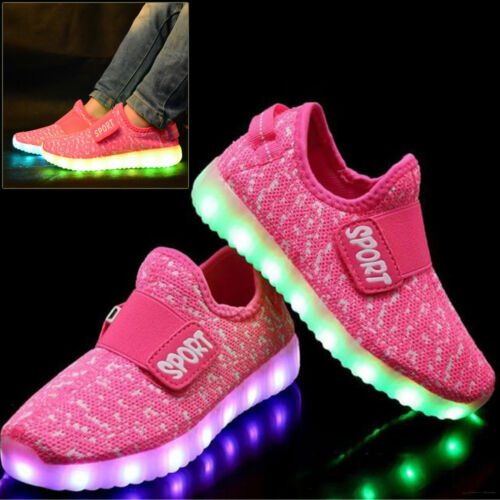USB Charge LED Flash Light Up Shoes Kids Boys /& Girls Casual Trainers Sneaker UK