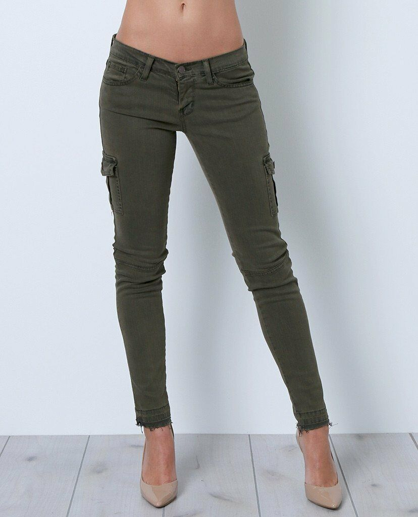 NWT FLYING MONKEY JEANS Skinny Cargo Pants L9417-AG Army Green Sz 25 in NWT