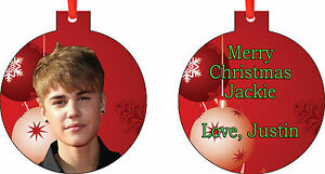 Add Any Message You Want Personalized JUSTIN BIEBER ORNAMENT