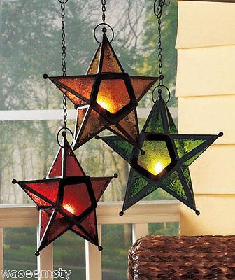 Country Hang Star Candle Lantern Set Tea Light Holder Patio Deck Outdoor Decor