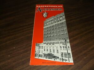 1931 HOTEL ALEXANDER HAGERSTOWN MARYLAND  BROCHURE