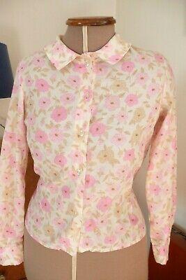 Affidabile Vintage 60s 70s St Michael Rosa Floreale Psych Cravatta Blusa Mod 8-10-