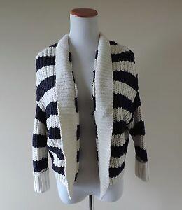 Women-039-s-Express-White-amp-Navy-Striped-Cardigan-Sweater-Size-XS