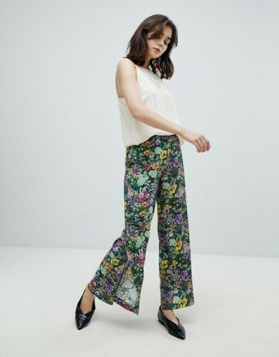 Green Floral Flowy Wide Palazzo Culottes Trousers Mango S M 8 10 US 4 6 Zara ❤
