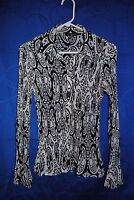 Women's ESSENTIALS BY MILANO Black White Paisley Button Down Shirt Size S