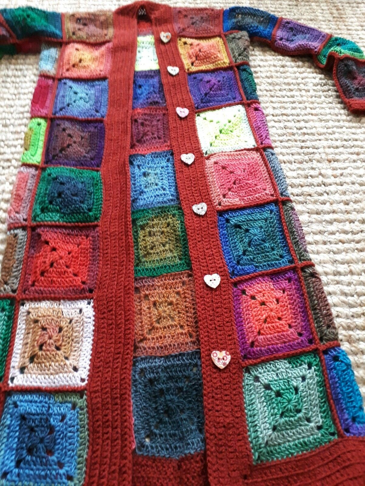 LUNiQUE  MADE TO ORDER crochet multicolourot patchwork cardigan with pockets