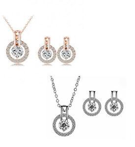 Damen-Schmuckset-Silber-Rosegold-Halskette-Ohrringe-Zirkonia-Strass-Kristall