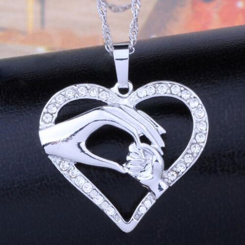 Muttertag Mutter Halten Kinder Kinder Hand Liebe Herz Anhänger Kette Halskette/_*
