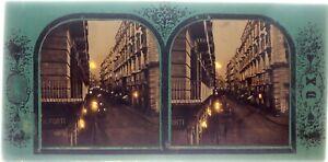 Italia-Napoli-Via-Toledo-c1860-Foto-Duriaux-Stereo-Diorama-Vintage-Albumina